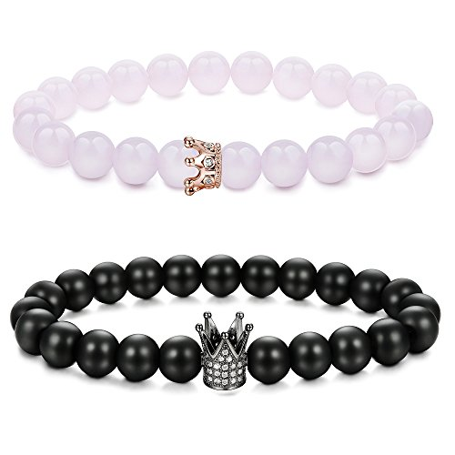 Finrezio Couples Bracelets His and Hers Beads King Queen Bracelet Long Distance Black Matte Agate and Rose Quartz (Pink and Black)