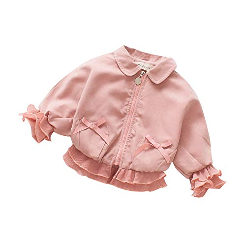 Baby Girl Clothes Long Sleeve Coats Sweaters Toddler Zipper Jackets Lace Princess Coats Petals Bow Winter Clothes (Pink, 6-12 Months)