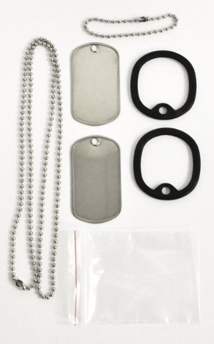 Femitu Military Spec. Stainless Steel Dog Tag Set Complete with Chains & Silencers