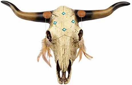 JEUNEU Large 21.56″ Rustic Bull Skull Feathers Animal Wall Hanging Artificial Resin Decoration