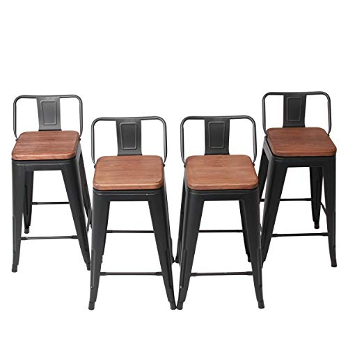 4 Inch Swivel Metal Bar Stool Stack-able for Indoor-Outdoor Kitchen Counter Barstools Low Back Set of 4­ (24 inch, Swivel Low Back Matte Black Wooden) ()