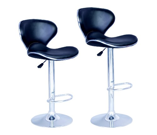New Modern Adjustable Synthetic Leather Swivel Bar Stools Chairs-Sets of 2 (And Bar Chairs Stools)