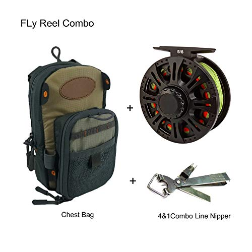 Aventik Z Fly Reel Combo Center Drag System Classic III Graphite Large Arbor Sizes 3/4, 5/6, 7/8 Fly Fishing Reels with Ultra Light Fly Fishing Chest Bag (3/4 Combo)