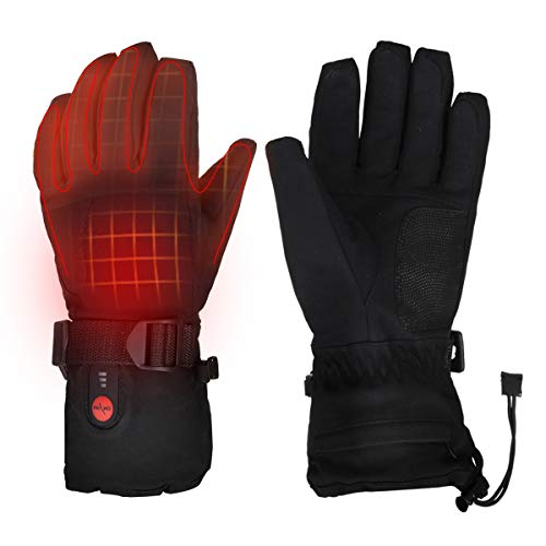 Heated Gloves Electric Hand Warmer with Rechargeable Powered Li-ion Battery up to 6.5 hours, Snow Winter Warm for Outdoor Cycling, Motorcycle, Hiking, Snowboarding, Battery for Men and Women (L)