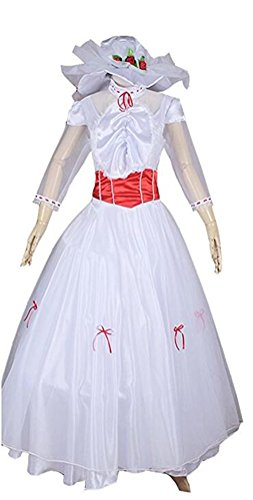Princess Costume for Women Adult Halloween Party Ball Gown Deluxe Dress White (S) (Mary Poppins Dress Up Costumes)