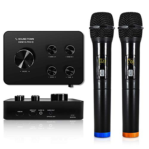 Sound Town Wireless Microphone Karaoke Mixer System, Supports HDMI ARC, Optical (Toslink), Smart TV, Media Box, PC…