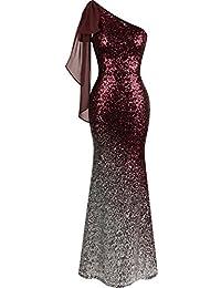 Angel-fashions Women's Asymmetric Ribbon Gradient Sequin Mermaid Long Dress