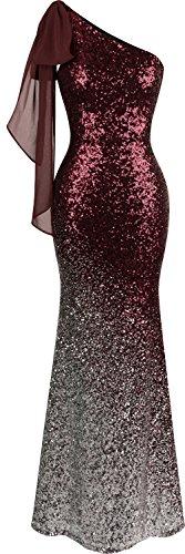 Angel-fashions Women's Asymmetric Ribbon Gradual Sequin Mermaid Long Prom Dress (L, Wine red)