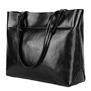 YALUXE Women's Soft Leather Work Tote Shoulder Bag with Wallet (Upgraded 2.0) Black