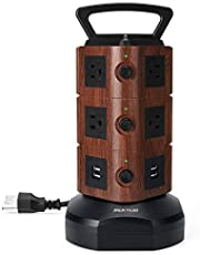 JACKYLED Power Strip Tower Surge Protector with 6.5ft Extension Cord 4 USB Ports and 10 AC Outlets Electric Charging Station for Home Office Dorm Desktop Computer Walnut and Black