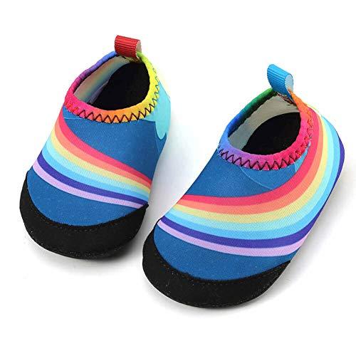 (Panda Software Baby Boys Girls Water Shoes Infant Barefoot Quick -Dry Anti- Slip Aqua Sock for Beach Swim Pool Rainbow/24-28 Months Infant)