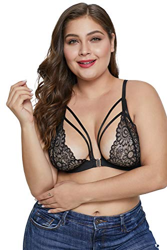 Womens Plus Size Lace Strappy Bralette Front Clasp Triangle Bra Flower Sheer Lingerie Top - Bustier Front Lace