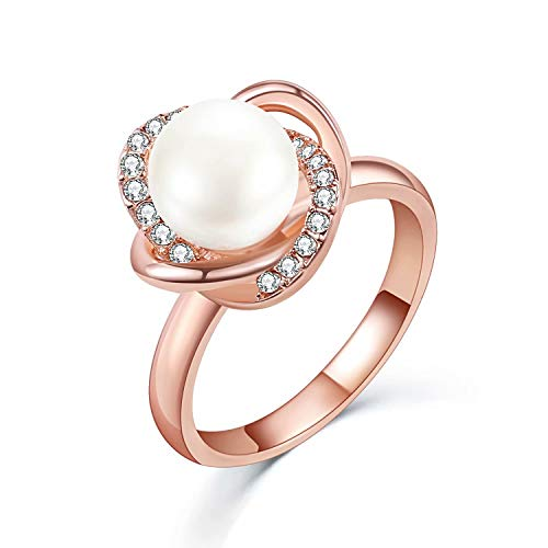 SR Womens 18K Gold Plated Copper Cubic Zirconia Pearl Flower Ring for Engagement Wedding Sizes 6-9