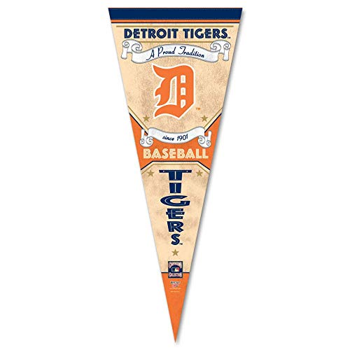 Bek Brands Baseball Teams Special Edition Flag Banner Pennant, 12 x 30 in, Cooperstown (Detroit Tigers)
