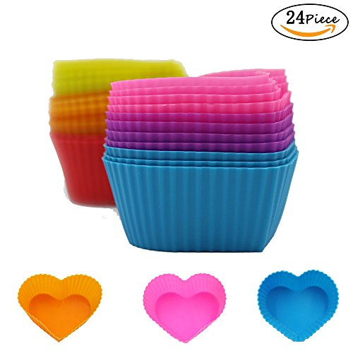 24 Packs Hippih Rainbow Bright Silicone Baking Cup Cake Molds