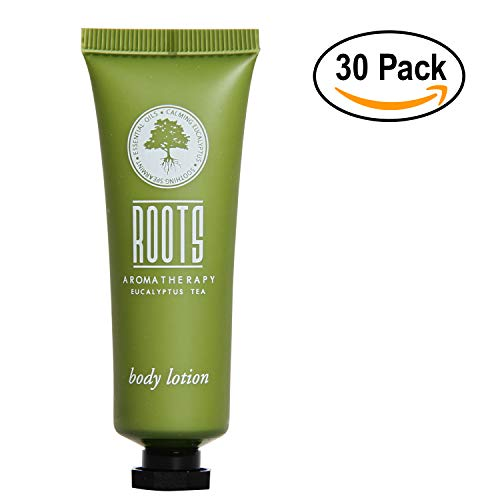 Roots Aromatherapy - Body Lotion 1floz/30mL Bulk Pack (Eucalyptus Tea fragrance) for Travel, Hotels, Motels, Lodging, and Bed and Breakfast (30 pack)