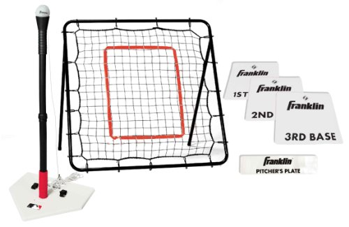 (Franklin Sports MLB Baseball Youth Starter Set - Includes a 36 x 36 Inch Pitch Back Returner, Four Piece Base Set, and an Anti-Tip Batting Tee)
