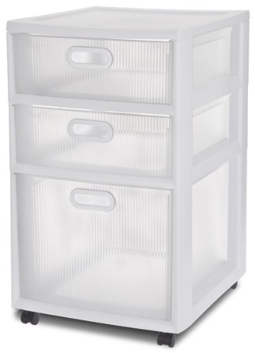 Beautiful Amazon.com: Sterilite 36128002 Ultra 3 Drawer Cart, White Frame With Clear  Textured Drawers And White Handles, 2 Pack: Home U0026 Kitchen