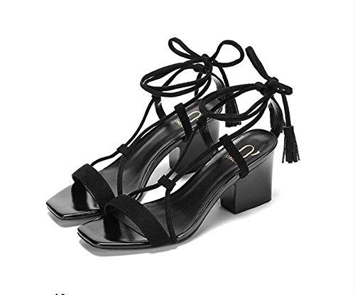 Sandalia mujeres Tacón los black verano cuero Rosa Las de zapatos 35 qYgTdq