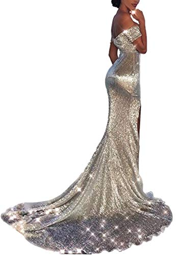 (Ohvera Women's Off Shoulder Sequined Party Cocktail Evening Prom Gown Mermaid Maxi Long Dress Silver Large)