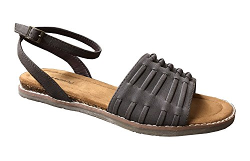 BEARPAW Womens Amelia Open Toe Casual Slingback Sandals, Brown, Size 8.0