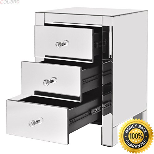 COLIBROX--Mirrored Nightstand 3 Drawer Modern Mirror End Table Storage Accent Cabinet. mirrored end table cheap. mirrored accent table. best mirrored end tables nightstands amazon. mirrored table. (Cheap Mirrored Furniture)