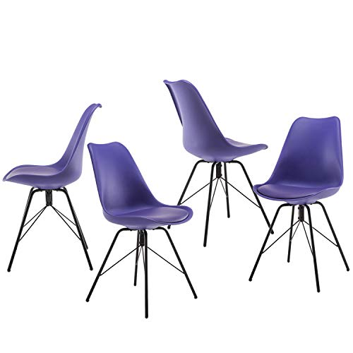 Weinerbee Upholstered Dining Room Chairs Set of 4 with Metal Legs, Casual Kitchen Chair 300 Lb Weight Capacity Purple