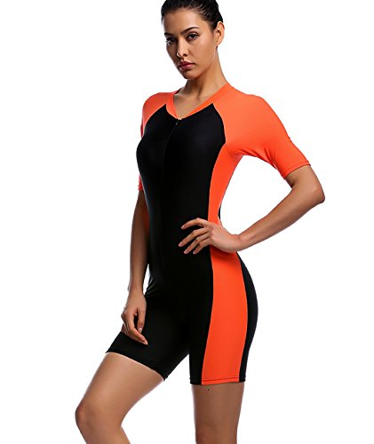 One Piece Swimsuit for Woman Belloo Short-sleeve Surfing Suit Sun Protection