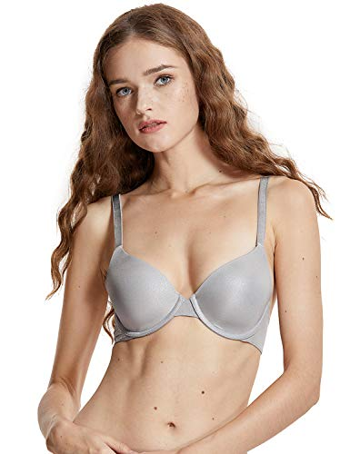 Bra Lightly Lined T-shirt (DOBREVA Women's Basic Underwired Plunge Lightly Lined Demi T-Shirt Bra Silver Gray_Perfect Coverage 32DD)