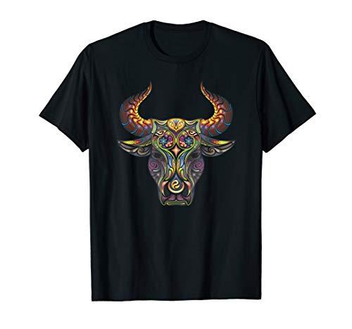 - Taurus T-Shirt Zodiac Birthday Cow Bull Floral Farmer Tee
