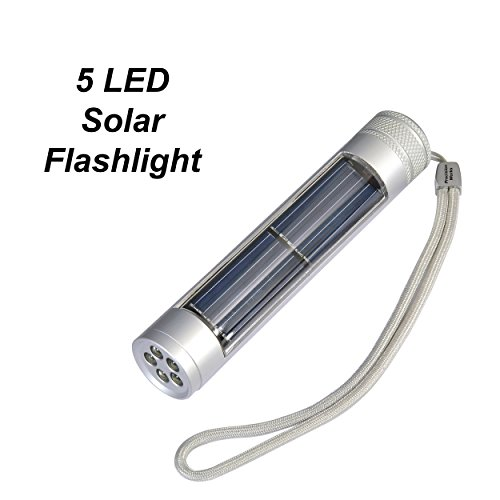 5 LED Solar Flashlight - Super Bright Handheld For Home, Camping, Travel and Office (Bright Solar Flashlight)