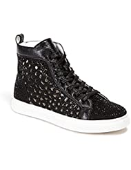 Lady Couture Flat Laser Cut High Top Bling Rhinestone Sneaker Womens Shoes New York