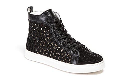 Dame Couture Platte Laser Gesneden Hoge Top Bling Strass Sneaker Damesschoenen New York Zwart