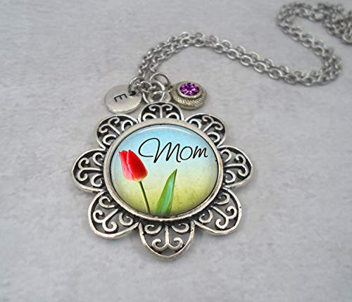 Mom Red Tulip Necklace with Letter Charm and Swarovski Birthstone Crystal of Your Choice * Hand-crafted with lOve!