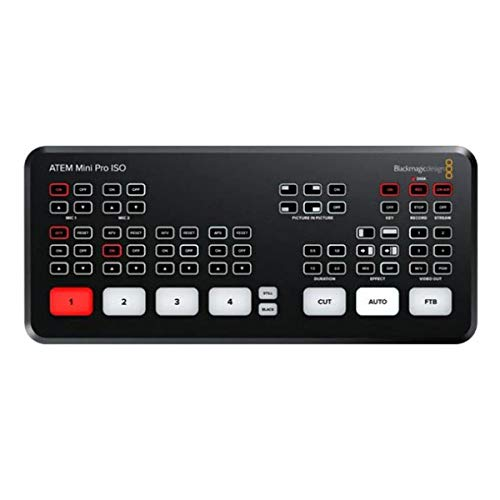 Blackmagic Design ATEM Mini Pro ISO Live Production Switcher - with Kramer USB-C 3.1 Gen-1 to USB-A Female Adapter Cable, Kramer Standard HDMI (M) to HDMI (M) Cable, 6'