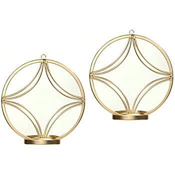 Hosley Set of 2 Wall Gold Finish Circle Mirror Wall Sconces 8 Inch Diameter Iron Modern Wall Art Plaque Ideal Gift for Weddings Parties Spa Aromatherapy LED Tealight Candle Garden O5