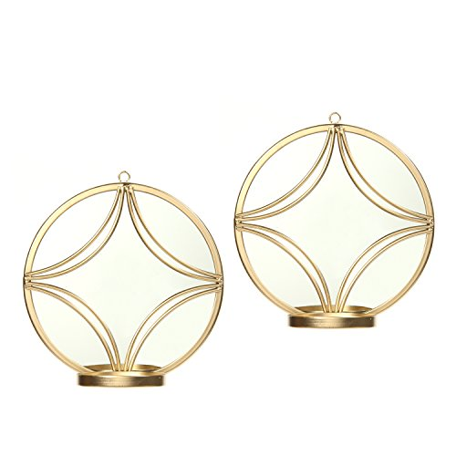 """Hosley Wall Gold Finish Circle Mirror Wall Sconces; Set of 2, 8"""" Diameter. Iron Modern Wall Art Plaque. Ideal Gift for Wedding, Party, Spa, Aromatherapy, LED Tea Light Candle Garden O5 from Hosley"""