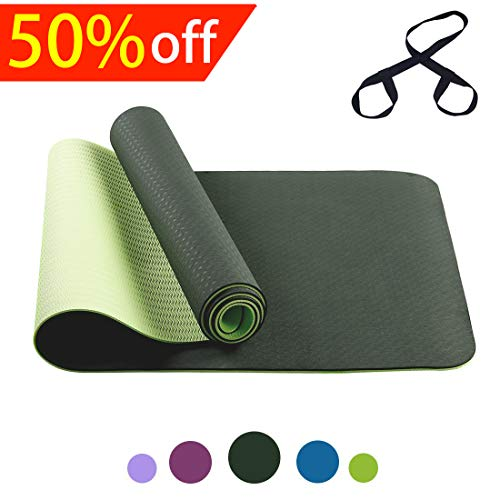 fe251f2f03dd FARLAND The Best Yoga Mat Exercise Mat -Non Slip Yoga Mats with Carrying  Strap Lightweight