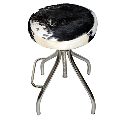 Foreign Affairs Home Decor Elegant Bar Stool CERUS with Black & White Cowhide Covered seat and silvered Stand with Foot Rest. Every Item is Unique Due to The Cowhide Used. (Bar Stools Cow)