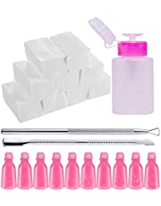Nail Polish Remover Tools Set Including Nail Polish Remover Bottle Triangle Cuticle Pusher Stainless Steel Pusher 500 Pcs Polish Remover Cotton Pads 10 Pcs Plastic Nail Remover Wraps