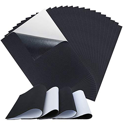 Sntieecr 20 Pieces Black Self Adhesive Back Felt Sheets Fabric Sticky Back Sheets, A4 Size (8.3 x 11.8 inch) for Art and Craft Making