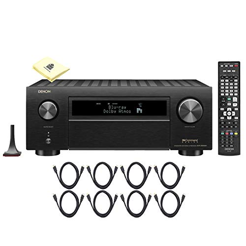 Denon AVR-X6400H 11.2CH 4K Ultra HD AV Receiver Cutting Edge Home Theater System Package with HEOS 3D Audio and Amazon Alexa Voice Control with 8 HDMI Cables and Zorro Sounds Receiver Polishing Cloth