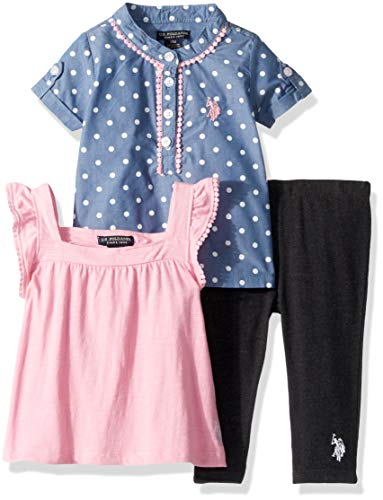 U.S. Polo Assn. Baby Girls Sport Shirt, Knit Top and Legging Set, Polka dots on Chambray Prism Pink 24M