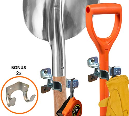 Heavy Duty Shovel Holder Wall Mount and Garden Tool Hangers for Garage Wall, Broom Clips for Wall and Rake and Shovel Organizer (10 Pack), Hardware Included + 2 Double Hooks - Hanging Tool Organizer Garden