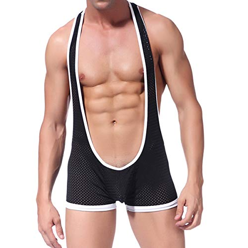 Mens Mesh Breathable Leotard Singlet Underwear See Through One-Piece Jumpsuit Suspender Jockstrap