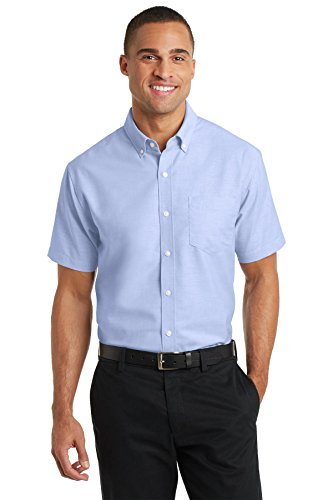 Port Authority S659 Men's Short Sleeve SuperPro Oxford Shirt Oxford Blue - Oxford Outlet Store