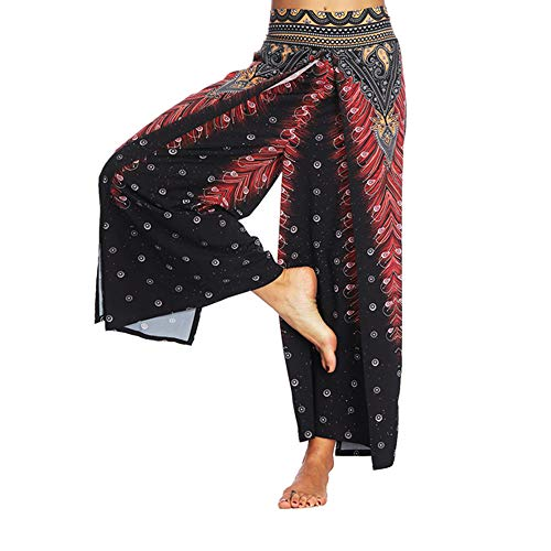 JOFOW Pants for Women Wide Leg Boho Ethnic Side Slit Split Patterned Dots Print Casual Loose Long High Waist Chic Trousers (M,Black & Red)