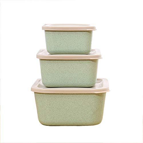 Hatisan 3-In-1 Mini Bento Boxes for Kids, Wheat Straw Square Lunch Boxes, Fruits Food Storage Containers with Leakproof Lids for Adults & Kids Picnic (Green)