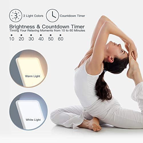 Tageslichtlampe 12000 Lux, Ltteny klein und handlich lichttherapielampe mit 3 Lichtfarben UV-FREE Vollspektrumlampe, 6 Timer mit Memoryfunktion Lichttherapielampe.