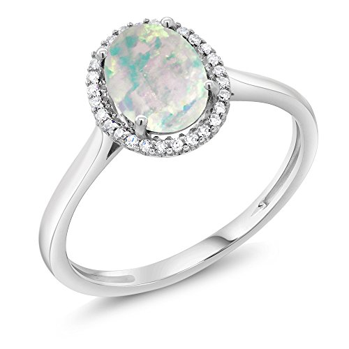 10K White Gold Diamond Halo Engagement Ring 1.05 Ct Oval Cabochon White Simulated Opal (Ring Size 9)